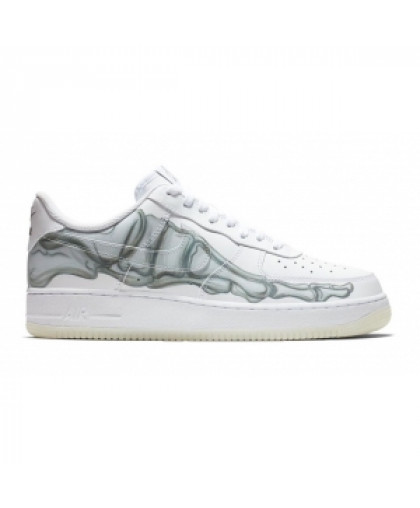 "NIKE AIR FORCE 1 LOW QS ""SKELETON"" HALLOWEEN SHOES BQ7541-100"